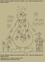 "Primitive Stitchery Pattern Snowman by Month, July ""Stars and Stripes forever!"""