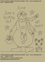 "Primitive Stitchery Pattern Snowman by Month June, ""June is busting out all over!"""