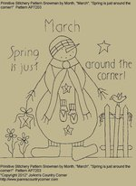 "Primitive Stitchery Pattern, Snowman by Month ""Spring is just around the corner!"""