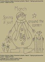 "Primitive Stitchery Pattern, Snowman by Month ""Spring is just around the corner!"""