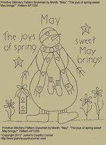 "Primitive Stitchery Pattern, Snowman by Month May, ""The joys of spring sweet May brings!"""