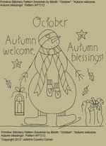 "Primitive Stitchery Pattern Snowman by Month October, ""Autumn welcome, Autumn blessings!"""