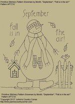 "Primitive Stitchery Pattern Snowman by Month, September ""Fall is in the air!"""