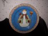 Debbie Mumm Snowman Plate with Cute Patched Coat, Broom, and Red Cardinal!