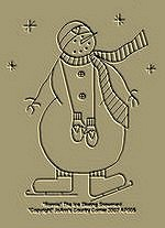 "Primitive Stitchery  Pattern ""Ronnie"" The Ice Skating Snowman!"