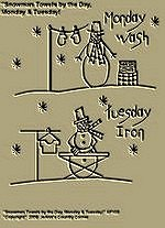 "Primitive Stitchery Pattern ""Snowman Towels by the Day, Monday Wash & Tuesday Iron!"