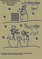 "Primitive Stitchery Pattern ""Snowman Towels by the Day, Wednesday  Sew & Thursday Visit !"