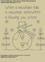 "Primitive Stitchery E-Pattern, ""When a snowflake falls, a snowman somewhere is blowing you a kiss!"""