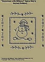 "Primitive Stitchery Pattern, ""Snowman with Mittens!"" Spice Mat & Sachet Pattern!"