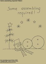 "Primitive Stitchery E-Pattern, ""Some assembling required! Snowman Pattern"