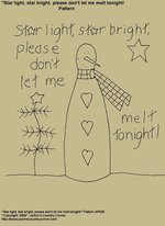"Primitive Stitchery E-Pattern, ""Star light, star bright, please don't let me melt tonight!"