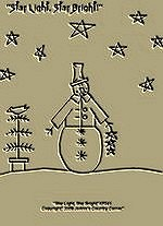 "Primitive Stitchery Pattern-Prim Snowman Pattern "" Star Light, Star Bright!"""
