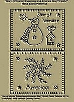 "Primitive Stitchery Patterns ""Star of Wonder Snowman and America Star Wreath!"" Hand Towel Patterns!"