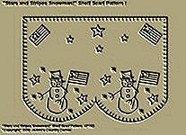 "Primitive Stitchery Pattern, "" Stars and Stripes Snowman!"" Shelf Scarf Pattern!"