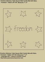 "Primitive Stitchery Pattern, ""Freedom"" Square Candle Mat with Stars!"