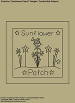 "Primitive Stitchery Pattern, ""Sunflower Patch!"" Hanger / Candle Mat Pattern!"