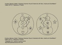 "Primitive Stitchery Patterns Tag Ornament/Ornie ""Sideways Snowman with Hearts, Stars, Buttons"" ap7011"