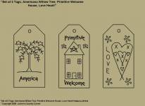 "Primitive Stitchery Patterns, ""Set of 3 Primitive Tags, Americana Willow Tree, Prim Welcome House, Love Heart!"" Patterns!"