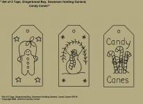 "Primitive Stitchery Patterns, ""Set of 3 Primitive Tags, Gingerbread Boy, Snowman Holding Garland, Candy Canes! Patterns!"