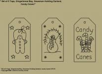 "Primitive Stitchery Patterns, ""Set of 3 Primitive Tags, Gingerbread Boy, Snowman Holding Garland, Candy Canes! Patterns!"
