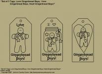 "Primitive Stitchery Patterns, ""Set of 3 Primitive Tags, Love Gingerbread Boys, I love Gingerbread Boys, Heart Gingerbread Boys!"" Patterns"