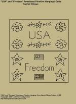 "Primitive Stitchery Pattern, ""USA and Freedom"" Americana Primitive Hanging / Ornie Sachet Pillow Patterns"