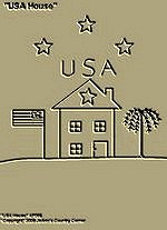 "Primitive Stitchery Pattern, Prim ""USA House!"""