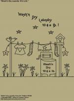 "Primitive Stitchery Pattern, ""Wash'n Dry Laundry 10 Cents a lb.!"""
