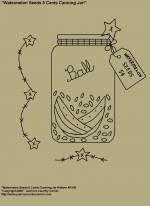 "Primitive Stitchery E-Pattern, ""Watermelon Seeds 5 Cents Canning Jar with Primitive Tag! E-Pattern"