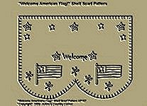 "Primitive Stitchery Pattern, ""Welcome American Flag!"" Shelf Scarf Pattern!"