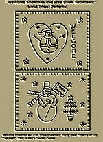 """Primitive Stitchery Patterns, """" Welcome Snowman and Free Snow Snowman!"""" Hand Towel Patterns!"""