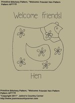 "Primitive Stitchery e-Pattern, ""Welcome Friends Hen"""