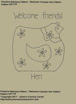 "Primitive Stitchery e-Pattern, ""Welcome Friends Hen"""