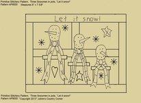 "Primitive Stitchery Pattern, Three Snowmen in Pots, ""Let it snow!"""