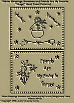 "Primitive Stitchery Patterns ""Winter Blessings and Friends Are My Favorite Things!"" Hand Towel Patterns!"