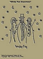 "Primitive Stitchery Pattern ""Winter Fun Snowmen!"""