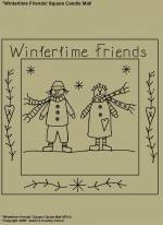 "Primitive Stitchery Patterns, ""Wintertime Friends"" Square Candle Mat Pattern"