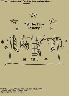 "Primitive Stitchery Pattern, ""Winter Time Laundry!"" Stitchery / Quilt Block Pattern"