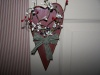 Primitive Country Hanging Red Wooden Heart with Americana Berries and Green Check Homespun Bow!