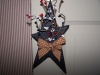 Primitive Wooden Navy Blue Hanging Star with Americana Berries and Burgandy Check Bow!