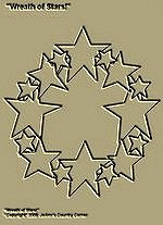 "Primitive Stitchery Pattern Primitive ""Wreath of Stars, Red, White and Blue!"""