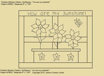 "Primitive Stitchery Pattern, ""You are my sunshine!"""