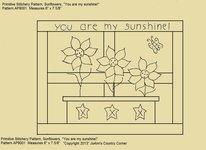 """Primitive Stitchery Pattern, """"You are my sunshine!"""""""
